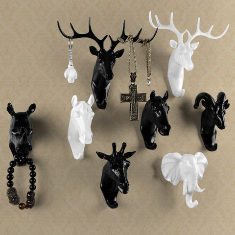 White/Gold/Black Animals Wall Hook Decor