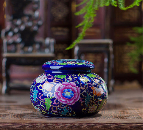 Style F- The Blue Container with Floral Decor