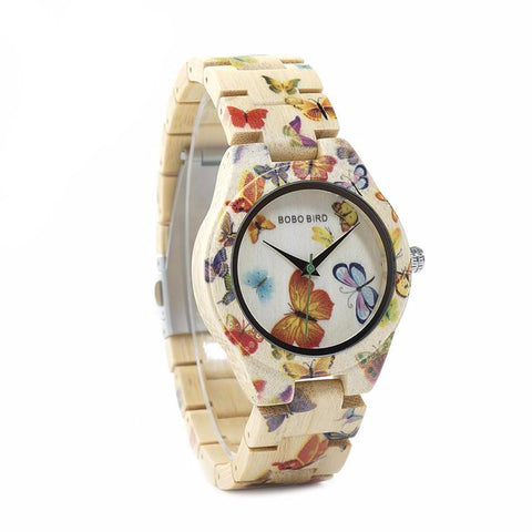 Ladies' Bamboo Butterfly Wooden Watch