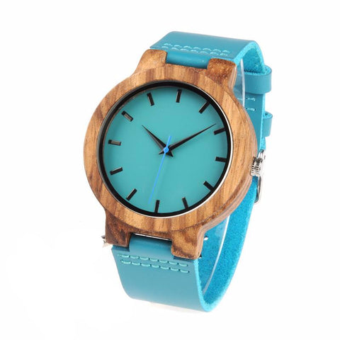 Blue Leather Band Wooden Watch