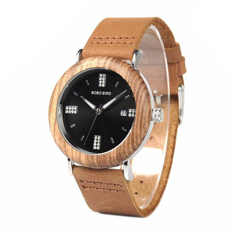 Ladies' Leather Wooden Watch w/Calendar