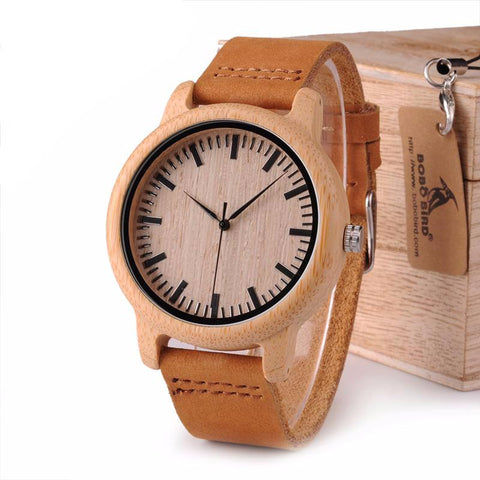 Classic Leather Bamboo Wooden Watch
