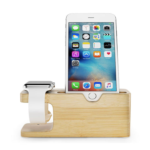 Wooden Phone & Watch Dock Station