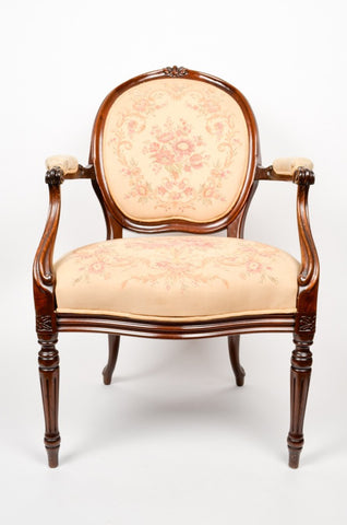French Louis XVI Style Mahogany Fauteuil Chairs