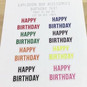 Explosion Box Accessory: Birthday Text