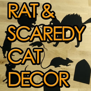 Rat And Scaredy Cat Silhouettes Halloween Decor Template