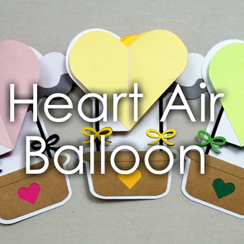 Heart Air Balloon Card Template
