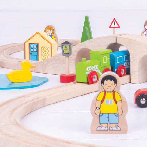 eco friendly wooden toys non toxic paint, Bigjigs wooden railway set at Torquay Toys