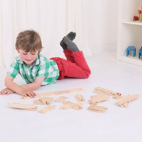 Bigjigs Rail Low Level Track Expansion Kit wooden railway at Torquay Toys