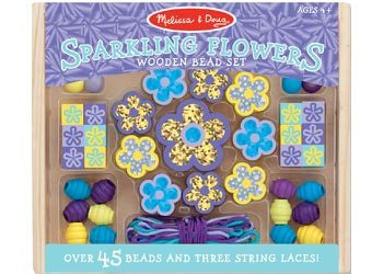 Sparkling Flowers Wooden Bead Set M D