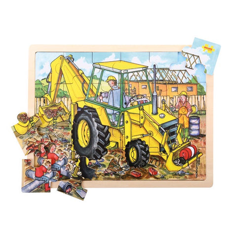 Bigjigs - Tray Puzzle - Digger Detailed