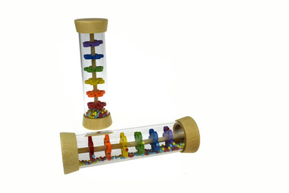 WOODEN RAINMAKER RATTLE IN CLEAR TUBE
