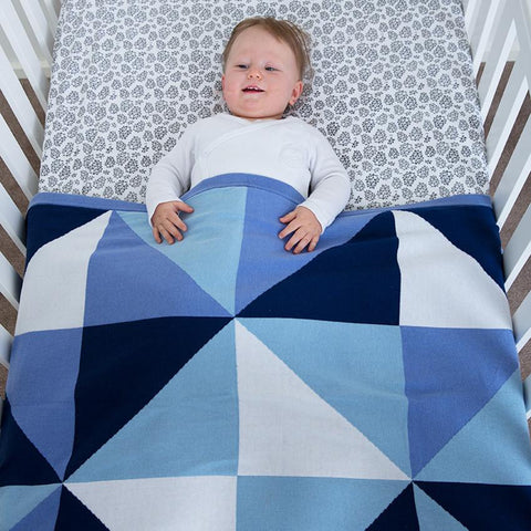 BABY BLANKET - KNITTED COTTON - Blue Triangles