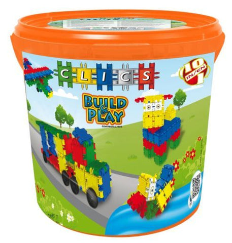 CLICS - BUILD & PLAY DRUM 225 COLORFUL PIECES | 10-IN-1