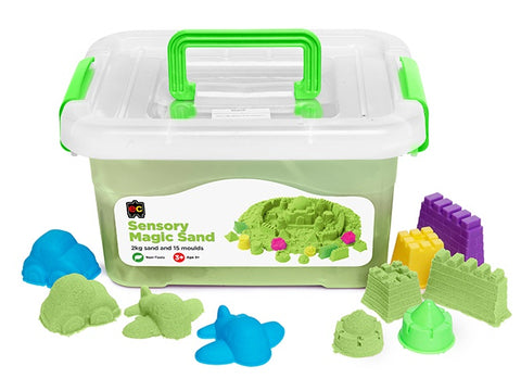 Sensory Magic Sand with Moulds 2kg Tub Green