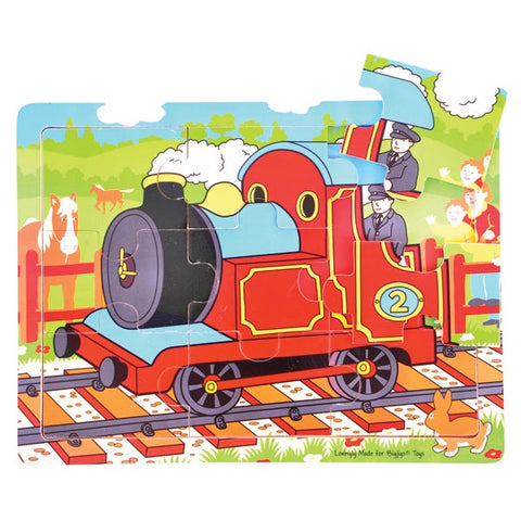 Bigjigs - Tray Puzzle - Train Red