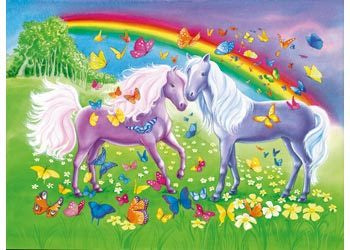Rburg - Rainbow Horses Jigsaw 2x24pc