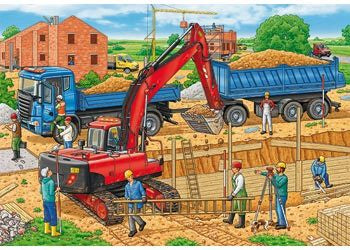 Rburg - Busy Construction Site Puzzle 2x12 Pc