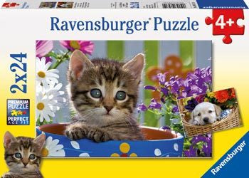 Ravensburger-Dog & Cat Puzzle 2 x 24pc