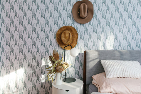 Misty Eyed gum leaf wallpaper peel and stick Luxe Walls Love From Shop