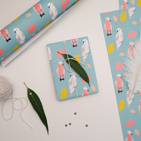 Gift Wrap Australian Native Bird Cockatoo and Galah Wrapping Paper