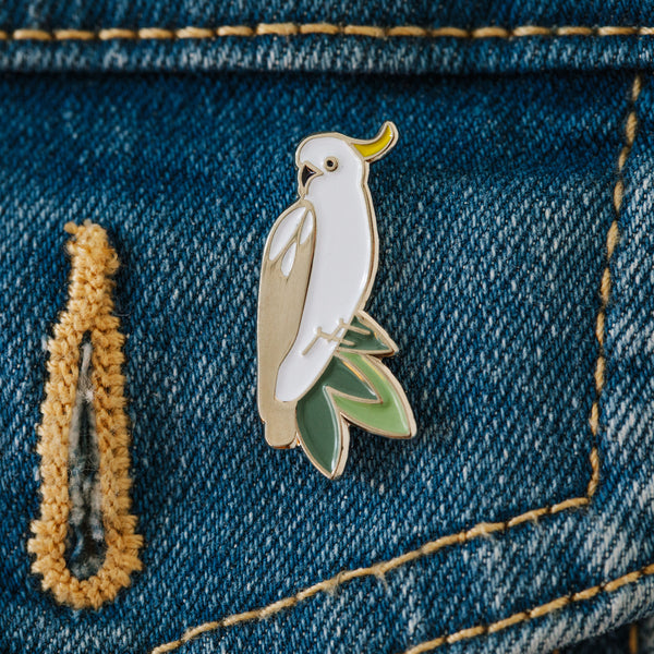 Cockatoo enamel pin Hello Cocky brooch