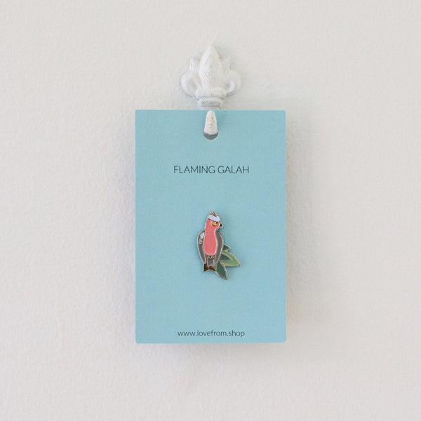 Flaming Galah enamel pin brooch