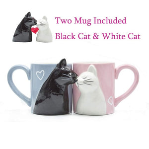 Handmade  2-PCS Kiss Cat Coffee Mug, Funny Cat Tea Ceramic cup set. Dishwasher Safe.