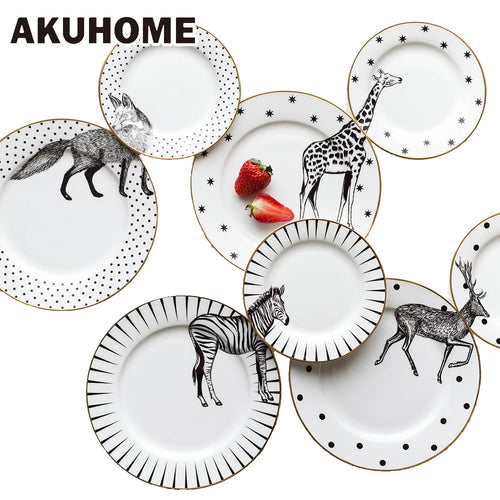 2 Pcs 6 and 8 Inch Animal Plates