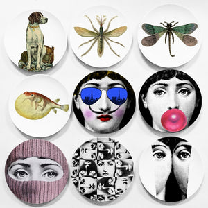 "6"" or  8"" Fornasetti Wall Hanging Plates. Nouveau Art Decoration"