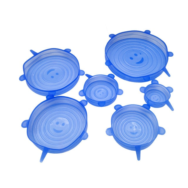 6pcs Reusable silicon stretch lids for bowls or jars.