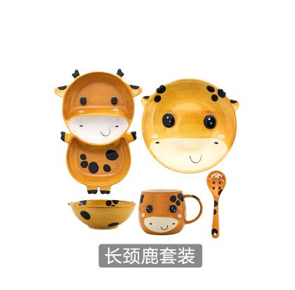 Creative Ceramic Children's Animal  Bowl, Spoon, Plate, and Cup..