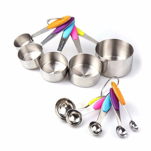 10 pcs set Measuring Cup Stainless Steel With Measuring Spoon With Silicone Handle
