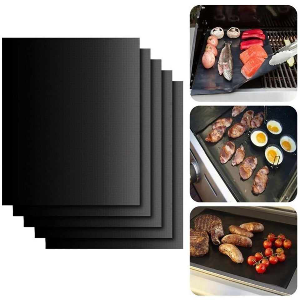2 Piece Teflon Nonstick BBQ Grill Mat or Baking Mat, Or Grilling Sheet.