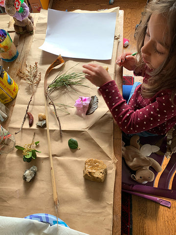 Art with plants, rocks, and twigs