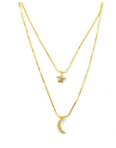 Lily Layer Necklace Moon & Star