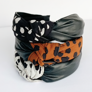 Dalmatian Leather Print Headband