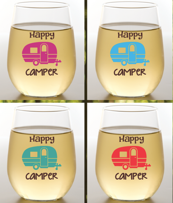 Happy Camper Wine Glasses 2 Pk