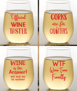 Wine Sayings Wine Glasses 4 Pk