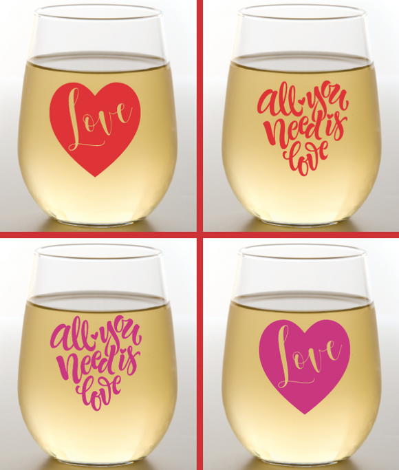 Valentines Wine Glasses 2 PK
