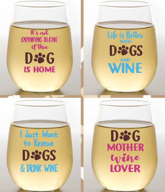 Dogs & Wine Glasses 2 Pk