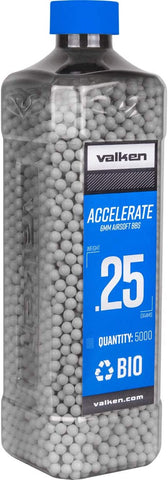 Valken Accelerate 0.25g Bio BBs - 5000 Count Bottle - White - Valken Airsoft