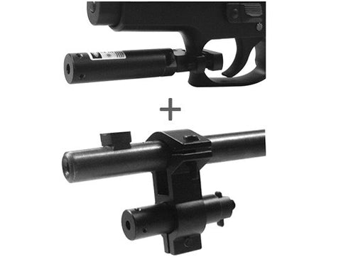 Red Laser Sight with Universal Barrel & Trigger Guard Mount Combo Set - Black