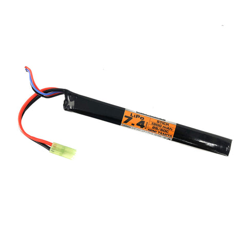 Valken 7.4V 1300mAh 25/50C Stick Style LiPo Battery - Valken Paintball