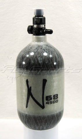 Ninja 68ci 4500 psi Nitrogen Air Tank Grey Ghost paintball with Pro V2 Reg