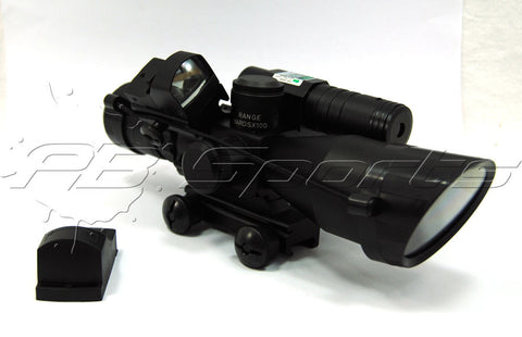TacFire 2.5-10x40 Dual ILL Scope w/Green Laser w/Mini Red Dot