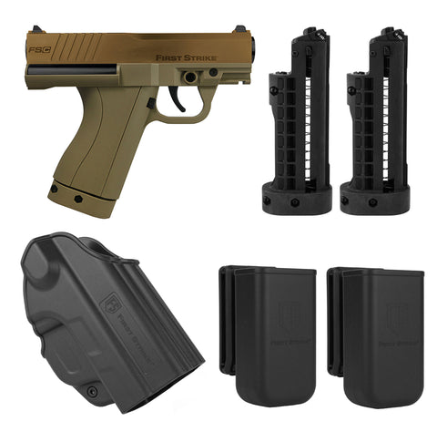 First Strike FSC (First Strike Compact) Paintball Pistol with 3 Mags, Holster and Mag Holsters - Bronze/Tan - First Strike