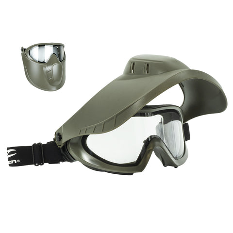 Valken VSM Thermal w/Face Shield Olive - Clear Lens - Valken Paintball