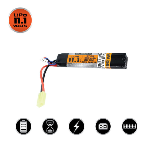 Valken Energy LiPo 11.1V 1450mAh 30C/50C Stick Battery - Small Tamiya - Valken Airsoft