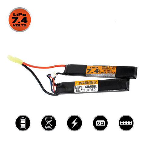 Valken Energy LiPo 7.4V 2500mAh 15C/25C Twin Stick Battery - Mini Tamiya - Valken Airsoft